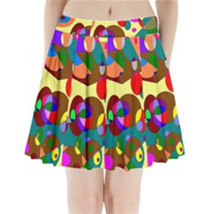 Abstract Digital Circle Computer Graphic Pleated Mini Skirt