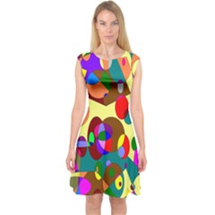 Abstract Digital Circle Computer Graphic Capsleeve Midi Dress