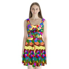 Abstract Digital Circle Computer Graphic Split Back Mini Dress