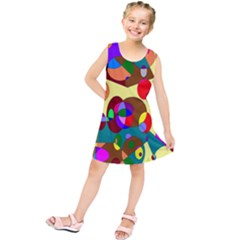 Abstract Digital Circle Computer Graphic Kids  Tunic Dress