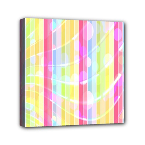 Abstract Stipes Colorful Background Circles And Waves Wallpaper Mini Canvas 6  X 6