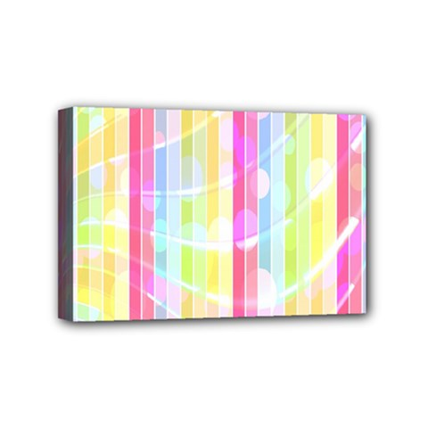 Abstract Stipes Colorful Background Circles And Waves Wallpaper Mini Canvas 6  X 4