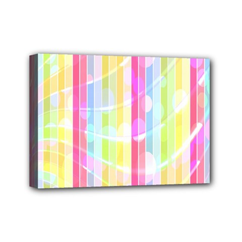 Abstract Stipes Colorful Background Circles And Waves Wallpaper Mini Canvas 7  X 5