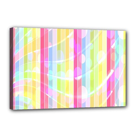 Abstract Stipes Colorful Background Circles And Waves Wallpaper Canvas 18  x 12