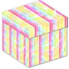 Abstract Stipes Colorful Background Circles And Waves Wallpaper Storage Stool 12