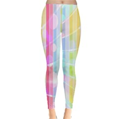 Abstract Stipes Colorful Background Circles And Waves Wallpaper Leggings