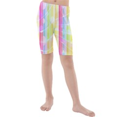 Abstract Stipes Colorful Background Circles And Waves Wallpaper Kids  Mid Length Swim Shorts
