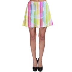 Abstract Stipes Colorful Background Circles And Waves Wallpaper Skater Skirt