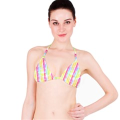 Abstract Stipes Colorful Background Circles And Waves Wallpaper Bikini Top