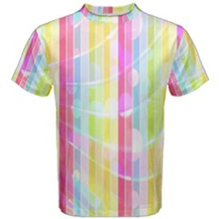 Abstract Stipes Colorful Background Circles And Waves Wallpaper Men s Cotton Tee