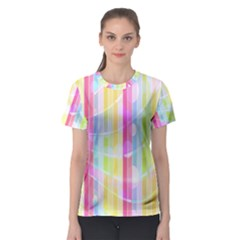Abstract Stipes Colorful Background Circles And Waves Wallpaper Women s Sport Mesh Tee
