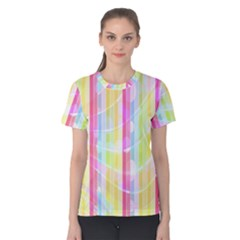 Abstract Stipes Colorful Background Circles And Waves Wallpaper Women s Cotton Tee