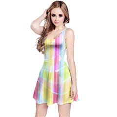 Abstract Stipes Colorful Background Circles And Waves Wallpaper Reversible Sleeveless Dress