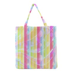 Abstract Stipes Colorful Background Circles And Waves Wallpaper Grocery Tote Bag