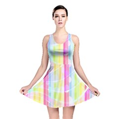 Abstract Stipes Colorful Background Circles And Waves Wallpaper Reversible Skater Dress