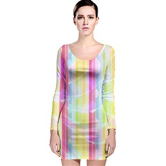 Abstract Stipes Colorful Background Circles And Waves Wallpaper Long Sleeve Bodycon Dress