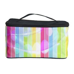 Abstract Stipes Colorful Background Circles And Waves Wallpaper Cosmetic Storage Case