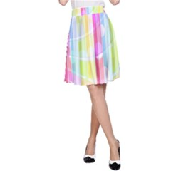 Abstract Stipes Colorful Background Circles And Waves Wallpaper A Line Skirt