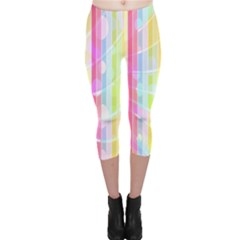 Abstract Stipes Colorful Background Circles And Waves Wallpaper Capri Leggings