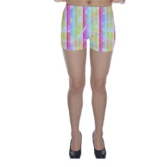Abstract Stipes Colorful Background Circles And Waves Wallpaper Skinny Shorts