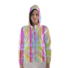Abstract Stipes Colorful Background Circles And Waves Wallpaper Hooded Wind Breaker (women)