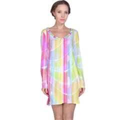 Abstract Stipes Colorful Background Circles And Waves Wallpaper Long Sleeve Nightdress