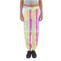 Abstract Stipes Colorful Background Circles And Waves Wallpaper Women s Jogger Sweatpants