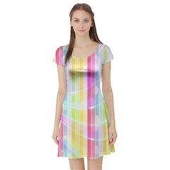 Abstract Stipes Colorful Background Circles And Waves Wallpaper Short Sleeve Skater Dress