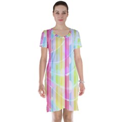 Abstract Stipes Colorful Background Circles And Waves Wallpaper Short Sleeve Nightdress