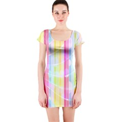 Abstract Stipes Colorful Background Circles And Waves Wallpaper Short Sleeve Bodycon Dress