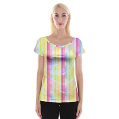 Abstract Stipes Colorful Background Circles And Waves Wallpaper Women s Cap Sleeve Top