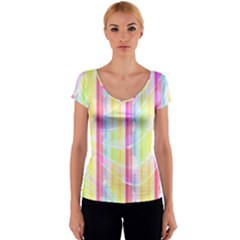 Abstract Stipes Colorful Background Circles And Waves Wallpaper Women s V-Neck Cap Sleeve Top