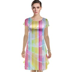 Abstract Stipes Colorful Background Circles And Waves Wallpaper Cap Sleeve Nightdress