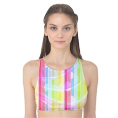 Abstract Stipes Colorful Background Circles And Waves Wallpaper Tank Bikini Top