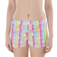 Abstract Stipes Colorful Background Circles And Waves Wallpaper Boyleg Bikini Wrap Bottoms