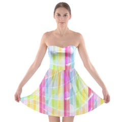 Abstract Stipes Colorful Background Circles And Waves Wallpaper Strapless Bra Top Dress