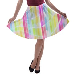 Abstract Stipes Colorful Background Circles And Waves Wallpaper A-line Skater Skirt