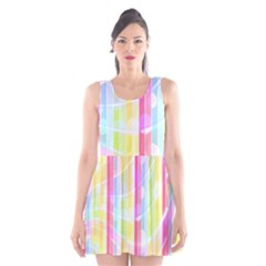 Abstract Stipes Colorful Background Circles And Waves Wallpaper Scoop Neck Skater Dress