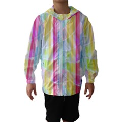 Abstract Stipes Colorful Background Circles And Waves Wallpaper Hooded Wind Breaker (Kids)