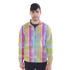 Abstract Stipes Colorful Background Circles And Waves Wallpaper Wind Breaker (Men)