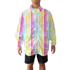 Abstract Stipes Colorful Background Circles And Waves Wallpaper Wind Breaker (Kids)