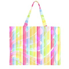 Abstract Stipes Colorful Background Circles And Waves Wallpaper Large Tote Bag