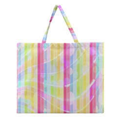 Abstract Stipes Colorful Background Circles And Waves Wallpaper Zipper Large Tote Bag