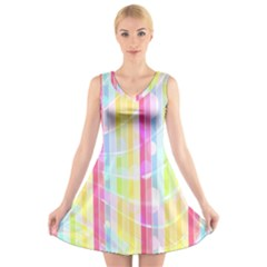 Abstract Stipes Colorful Background Circles And Waves Wallpaper V Neck Sleeveless Skater Dress