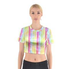 Abstract Stipes Colorful Background Circles And Waves Wallpaper Cotton Crop Top