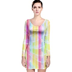 Abstract Stipes Colorful Background Circles And Waves Wallpaper Long Sleeve Velvet Bodycon Dress