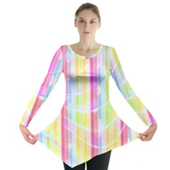 Abstract Stipes Colorful Background Circles And Waves Wallpaper Long Sleeve Tunic