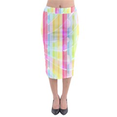 Abstract Stipes Colorful Background Circles And Waves Wallpaper Midi Pencil Skirt