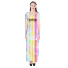 Abstract Stipes Colorful Background Circles And Waves Wallpaper Short Sleeve Maxi Dress