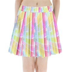 Abstract Stipes Colorful Background Circles And Waves Wallpaper Pleated Mini Skirt